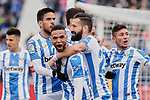 CD Leganes's players celebrate goal during La Liga match between CD Leganes and Real Betis Balompie at Butarque Stadium in Madrid, Spain. February 10, 2019. (ALTERPHOTOS/A. Perez Meca)