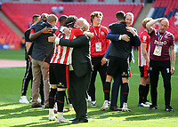 Brentford Chairman, Cliff Crown hugs Mathias Jensen at the final whistle as Brentford celebrate winning promotion to the Premier League during Brentford vs Swansea City, Sky Bet EFL Championship Play-Off Final Football at Wembley Stadium on 29th May 2021