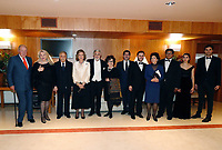02-11-2018 Spain Spanish Emeritus Royal Couple Juan Carlos (L) and Sofia (4-L), Indian conductor Zubin Mehta (3-L) his wife Nnacy Kovack (2-L), Spanish tenor Placido Domingo (5-L) and his wife Marta Domingo (6-L) pose during a concert offered by the orchestra of Reina Sofia Music academy on the occasion of the 80th anniversary of Queen Sofia in Madrid, Spain<br /> <br /> .<br /> .