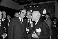 Robert Bourassa et le ministre des affaires etrangeres de France, Maurice Schumann, le 1er octobre 1971.<br /> <br /> Photo d'archive : Agence Quebec Presse  - Photo Moderne