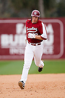 Justin Smoak (12) of the South Carolina Gamecocks rounds the bases following his 2-run home run versus the East Carolina Pirates at Sarge Frye Field in Columbia, SC, Sunday, February 24, 2008.