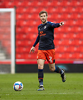 20th February 2021; Bet365 Stadium, Stoke, Staffordshire, England; English Football League Championship Football, Stoke City versus Luton Town; Martin Cranie of Luton Town points to where he is going to place the ball