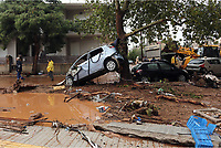 Pictured: A car is wedged against a tree amongst mud and debris.<br />
