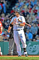 9 June 2012: Boston Red Sox third baseman Will Middlebrooks in action against the visiting Washington Nationals at Fenway Park in Boston, MA. The Nationals defeated the Red Sox 4-2 in the second game of their 3-game series. Mandatory Credit: Ed Wolfstein Photo