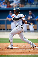 Jackson Generals third baseman Dawel Lugo (31) follows through on a swing during a game against the Biloxi Shuckers on April 23, 2017 at MGM Park in Biloxi, Mississippi.  Biloxi defeated Jackson 3-2.  (Mike Janes/Four Seam Images)