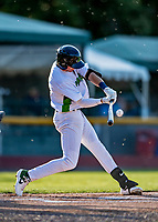 29 August 2019: Vermont Lake Monsters infielder Logan Davidson leads off the first inning with a base hit against the Connecticut Tigers at Centennial Field in Burlington, Vermont. The Lake Monsters fell to the Tigers 6-2 in the first game of their NY Penn League double-header.  Mandatory Credit: Ed Wolfstein Photo *** RAW (NEF) Image File Available ***