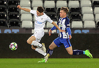 Pictured: Daniel James of Swansea (L) Tuesday 28 February 2017<br /> Re: Premier League International Cup, Swansea City U23 v Hertha Berlin II at at the Liberty Stadium, Swansea, UK