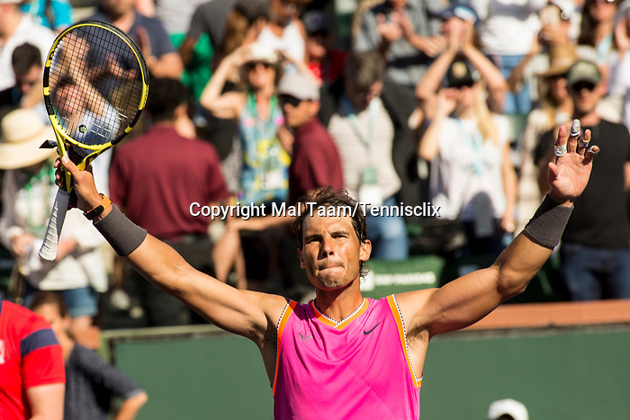 March 15, 2019: Rafael Nadal (ESP) waves to the crowd after he defeated Karen Khachanov (RUS) 7-6, 7-6 at the BNP Paribas Open at the Indian Wells Tennis Garden in Indian Wells, California. ©Mal Taam/TennisClix/CSM