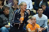 Arena Loire,  Trélazé,  France, 16 April, 2016, Semifinal FedCup, France-Netherlands, Kiki Bertens (NED) supports her team member Aranta Rus<br /> Photo: Henk Koster/Tennisimages