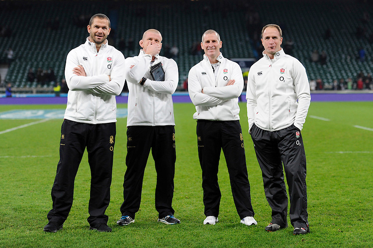 The England coaches (L-R) Andy Farrell, England Backs Coach, Graham Rowntree, England Forwards Coach, Stuart Lancaster, England Team Manager, and Mike Catt, England Attacking Skills Coach, celebrate after winning the QBE International match between England and Australia at Twickenham Stadium on Saturday 29th November 2014 (Photo by Rob Munro)