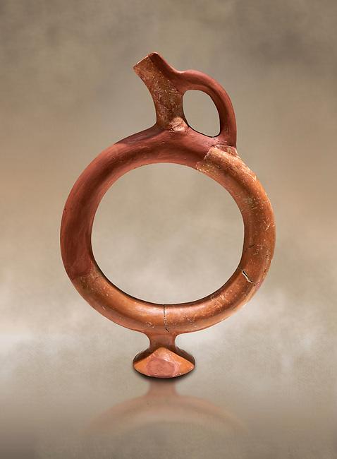 Hittite terra cotta ring shaped vessel - 16th century BC - Hattusa ( Bogazkoy ) - Museum of Anatolian Civilisations, Ankara, Turkey