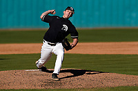 Starting pitcher Alex Garbrick (14) of the University of South Carolina Upstate Spartans struck out eight over five innings for the 5-1 win against the University of Toledo Rockets on Saturday, February 20, 2021, at Cleveland S. Harley Park in Spartanburg, South Carolina. Upstate won, 5-1. (Tom Priddy/Four Seam Images)