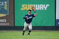 Helena Brewers left fielder Jose Gomez (5) settles under a fly ball during the game against the Great Falls Voyagers at Centene Stadium on August 19, 2017 in Helena, Montana.  The Voyagers defeated the Brewers 8-7.  (Brian Westerholt/Four Seam Images)