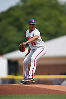 Auburn Doubledays starting pitcher Francys Peguero (38) delivers a pitch during a game against the Batavia Muckdogs on September 1, 2018 at Dwyer Stadium in Batavia, New York.  Auburn defeated Batavia 10-5.  (Mike Janes/Four Seam Images)