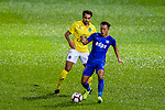 Diogo Luis Santo of Buriram (L) fights for the ball with Kitchee Defender Tong Kin Man (R) during the Preseason Friendly Match between Kitchee and Buriram United at Mong Kok Stadium on August 18, 2018 in Hong Kong. Photo by Marcio Machado/Photo by Marcio Machado/Power Sport Images
