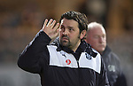 Dundee v St Johnstone…12.02.16   SPFL   Dens Park, Dundee<br />Paul Hartley waves to the crowd<br />Picture by Graeme Hart.<br />Copyright Perthshire Picture Agency<br />Tel: 01738 623350  Mobile: 07990 594431