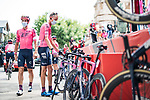 Hugh Carthy (GBR) and EF Education-Nippo at sign on before the start of Stage 6 of La Vuelta d'Espana 2021, running 158.3km from Requena to Alto de la Montaña Cullera, Spain. 19th August 2021.    <br /> Picture: Charly Lopez/Unipublic   Cyclefile<br /> <br /> All photos usage must carry mandatory copyright credit (© Cyclefile   Unipublic/Charly Lopez)