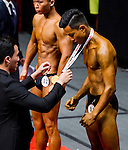Winners in the Men's Youth Bodybuilding (below 21 year-old) category during the 2016 Hong Kong Bodybuilding Championships on 12 June 2016 at Queen Elizabeth Stadium, Hong Kong, China. Photo by Lucas Schifres / Power Sport Images