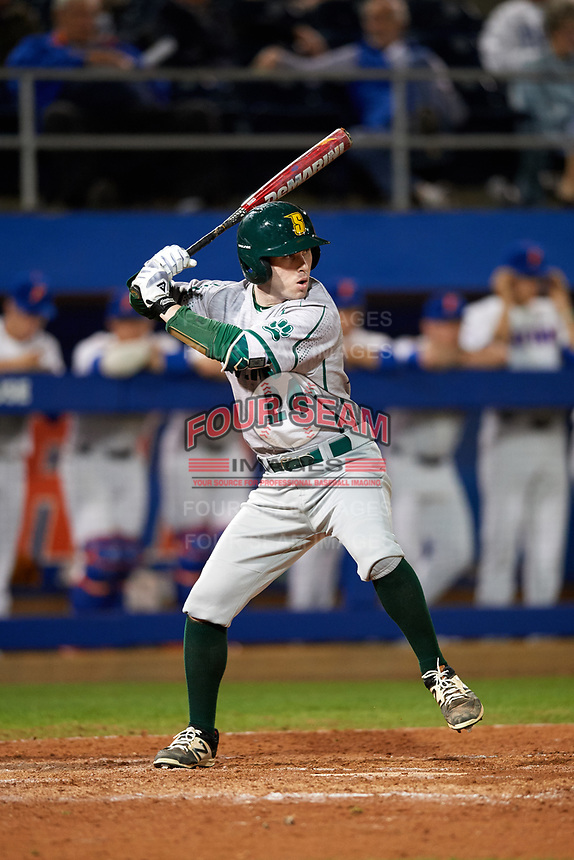 Siena Saints pinch hitter Craig Corliss (24) at bat during a game against the Florida Gators on February 16, 2018 at Alfred A. McKethan Stadium in Gainesville, Florida.  Florida defeated Siena 7-1.  (Mike Janes/Four Seam Images)