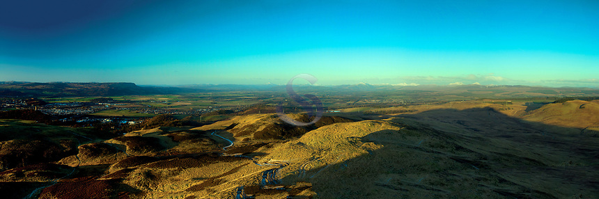 Stirling and the Southern Highlands from Dumyat, the Ochil Hills, Stirlingshire