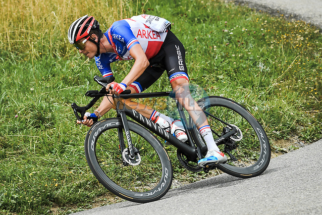 French Champion Warren Barguil (FRA) Team Arkea-Samsic descends during Stage 5 of Criterium du Dauphine 2020, running 153.5km from Megeve to Megeve, France. 16th August 2020.<br /> Picture: ASO/Alex Broadway | Cyclefile<br /> All photos usage must carry mandatory copyright credit (© Cyclefile | ASO/Alex Broadway)