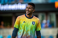SAN JOSE, CA - AUGUST 17: Daniel Vega #17 of the San Jose Earthquakes warming up before a game between San Jose Earthquakes and Minnesota United FC at PayPal Park on August 17, 2021 in San Jose, California.