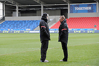 20130310 Copyright onEdition 2013©.Free for editorial use image, please credit: onEdition..Mark McCall, Saracens Director of Rugby (right), talks with Forwards Coach Alex Sanderson before the LV= Cup semi final match between Sale Sharks and Saracens at the Salford City Stadium on Sunday 10th March 2013 (Photo by Rob Munro)..For press contacts contact: Sam Feasey at brandRapport on M: +44 (0)7717 757114 E: SFeasey@brand-rapport.com..If you require a higher resolution image or you have any other onEdition photographic enquiries, please contact onEdition on 0845 900 2 900 or email info@onEdition.com.This image is copyright onEdition 2013©..This image has been supplied by onEdition and must be credited onEdition. The author is asserting his full Moral rights in relation to the publication of this image. Rights for onward transmission of any image or file is not granted or implied. Changing or deleting Copyright information is illegal as specified in the Copyright, Design and Patents Act 1988. If you are in any way unsure of your right to publish this image please contact onEdition on 0845 900 2 900 or email info@onEdition.com