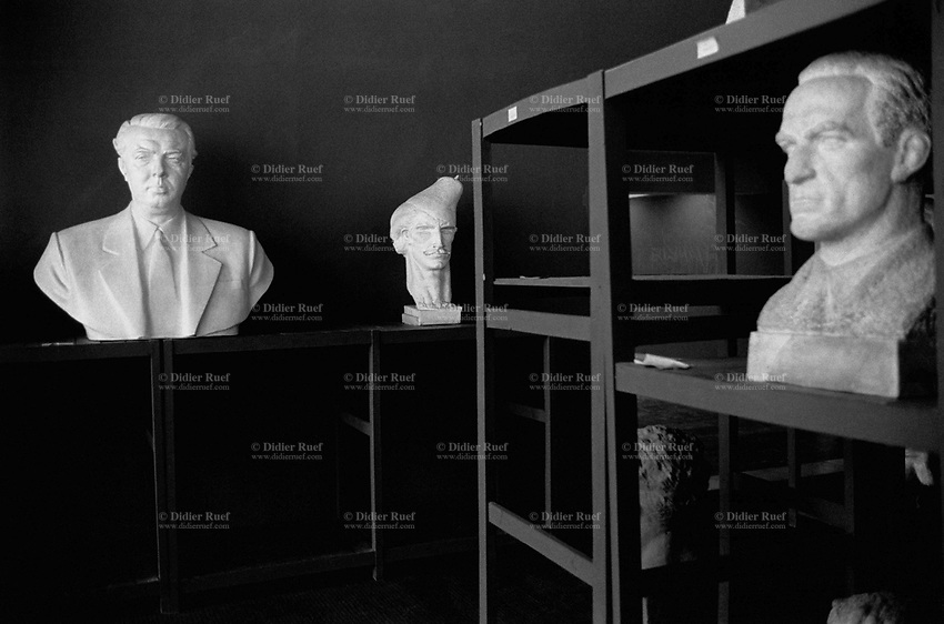 Albania. Province of Tirana. Tirana. National Gallery of Arts. Room of the Realism Socialist.Enver Hoxha's statue is the first on the left. Enver Hoxha (1908-1985) was for 40 years a dictator and a communist leader. He decided after the historic break with Russia in 1961 to protect his country from any invaders by investing in a massive fortification (more than a million bunkers were built over the years till 1985). © 2003 Didier Ruef