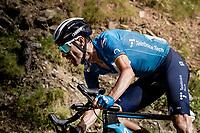 Alejandro Valverde (ESP/Movistar) in the descent of the Col de Beixalis<br /> <br /> Stage 15 from Céret to Andorra la Vella (191km)<br /> 108th Tour de France 2021 (2.UWT)<br /> <br /> ©kramon
