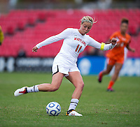 Olivia Wagner (11) of Maryland takes a shot during the game at Ludwig Field in College Park, MD.  Maryland defeated Miami, 2-1, in overtime.