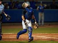 IMG Academy Ascenders catcher Brady Neal (28) during a game against the Canterbury Cougars on April 21, 2021 at IMG Academy in Bradenton, Florida.  (Mike Janes/Four Seam Images)