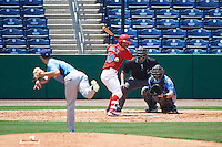 Clearwater Threshers catcher Chace Numata (50) awaits a pitch from Hunter Wood (3) while at bat in front of catcher Mac James (8) and umpire Mike Savakinas during a game against the Charlotte Stone Crabs on April 13, 2016 at Bright House Field in Clearwater, Florida.  Charlotte defeated Clearwater 1-0.  (Mike Janes/Four Seam Images)