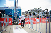 finish line under construction (2 hours before the riders roll in)<br /> <br /> Tour of Turkey 2014<br /> stage 3