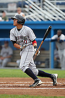 Mahoning Valley Scrappers third baseman Giovanny Urshela (10) during a game vs. the Batavia Muckdogs at Dwyer Stadium in Batavia, New York August 2, 2010.   Batavia defeated Mahoning Valley 8-1.  Photo By Mike Janes/Four Seam Images