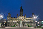 UK, Scotland, Glasgow, George Square at Dawn, the main square in central Glasgow named after King George III and originally laid out in 1781