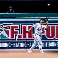 15 April 2018: Washington Nationals outfielder Moises Sierra pulls in a fly ball against the Colorado Rockies at Nationals Park in Washington, DC. All MLB players wore Number 42 to commemorate the life of Jackie Robinson and to celebrate Black Heritage Day in pro baseball. The Rockies edged out the Nationals 6-5 to take the final game of their 4-game series. Mandatory Credit: Ed Wolfstein Photo *** RAW (NEF) Image File Available ***