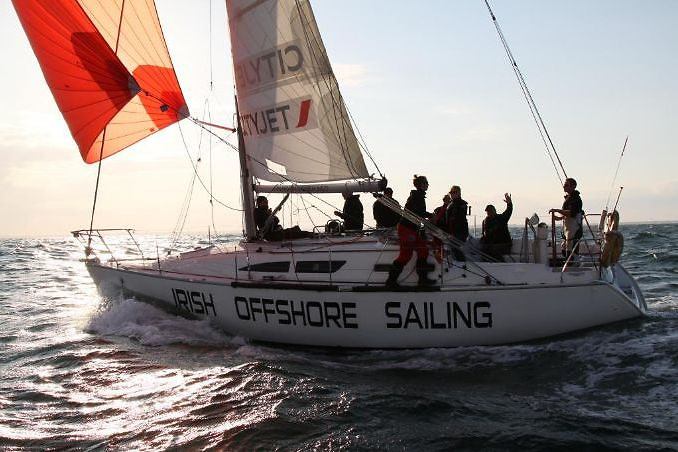 The vintage Sunfast 37 Desert Star – she has sailed every Fastnet Race since 2015, and several Dun Laoghaire to Dingles as well.