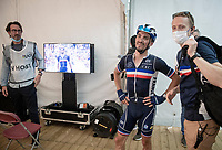 Julian Alaphilippe's (FRA/Deceuninck - Quick Step) as he watches his finish in replay for the first time<br /> <br /> Elite Men World Championships - Road Race<br /> from Antwerp to Leuven (268.3km)<br /> <br /> UCI Road World Championships - Flanders Belgium 2021<br /> <br /> ©kramon