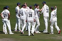 Sam Cook of Essex celebrates with his team mates after taking the wicket of Alzarri Joseph during Worcestershire CCC vs Essex CCC, LV Insurance County Championship Group 1 Cricket at New Road on 2nd May 2021