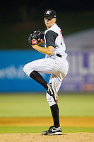 Jacob Petricka #17 of the Kannapolis Intimidators in action against the Hagerstown Suns at Fieldcrest Cannon Stadium August 10, 2010, in Kannapolis, North Carolina.  Photo by Brian Westerholt / Four Seam Images