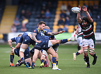 29th May 2021; Sixways Stadium, Worcester, Worcestershire, England; Premiership Rugby, Worcester Warriors versus Leicester Tigers; Francois Hougaard of Worcester Warriors kicks under pressure from Harry Wells of Leicester Tigers