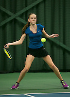 Rotterdam, The Netherlands, 15.03.2014. NOJK 14 and 18 years ,National Indoor Juniors Championships of 2014, Perla Nieuwboer (NED)<br /> Photo:Tennisimages/Henk Koster