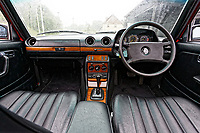 The dashboard of the Mercedes W123 series 230TE estate version, outside the Penderyn Whisky Distillery in south Wales, UK. Tuesday 19 June 2018