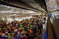 part of the neutralised section sent the peloton under the Schelde river via the famous 'Konijnenpijp' tunnel - riders (kids that they are) tested the echo by wissling  & shouting collectively<br /> <br /> 101th Ronde Van Vlaanderen 2017 (1.UWT)<br /> 1day race: Antwerp › Oudenaarde - BEL (260km)