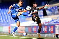13th September 2020; Portman Road, Ipswich, Suffolk, England, English League One Footballl, Ipswich Town versus Wigan Athletic; Luke Chambers of Ipswich Town competes for the ball with Viv Solomon-Otabor of Wigan Athletic