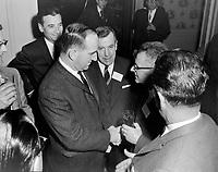 Le ministre Pierre Laporte<br /> , Entre le 25 novembre et le 1er décembre 1963<br /> <br /> Photographe : Photo Moderne<br /> - Agence Quebec Presse