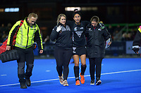 NZ's Kayla Whitelock is carried off injured during the Sentinel Homes Trans Tasman Series hockey match between the New Zealand Black Sticks Women and the Australian Hockeyroos at Massey University Hockey Turf in Palmerston North, New Zealand on Tuesday, 1 June 2021. Photo: Dave Lintott / lintottphoto.co.nz