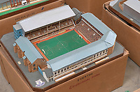 BNPS.co.uk (01202 558833)<br /> Pic: Zachary Culpin/BNPS<br /> <br /> Pictured: Everton's Goodison Park<br /> <br /> An incredible collection of model football stadiums handmade by a soccer fan have sold for almost £19,000 after being found in a storage unit.<br /> <br /> Model-maker John Le Maitre created miniature versions of all 92 English Football League club grounds from the 1980s, as well as the old Wembley Stadium.<br /> <br /> They featured on a Blue Peter episode that year and are a throwback to a bygone age when football grounds with their banks of terraces looked very different to today's super stadiums.