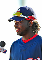 18 March 2009: Washington Nationals' outfielder Lastings Milledge is interviewed by the press prior to a Spring Training game against the Florida Marlins at Space Coast Stadium in Viera, Florida. The Marlins defeated the Nationals 7-5 in the Grapefruit League matchup. Mandatory Photo Credit: Ed Wolfstein Photo