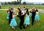 Bridal party dances.